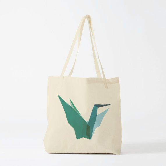 Borsa tote Origami verde scuro tote bag donna dono di gru