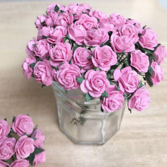10mm Mini Mulberry Paper Rose Miniature Paper Flower Mini Rose