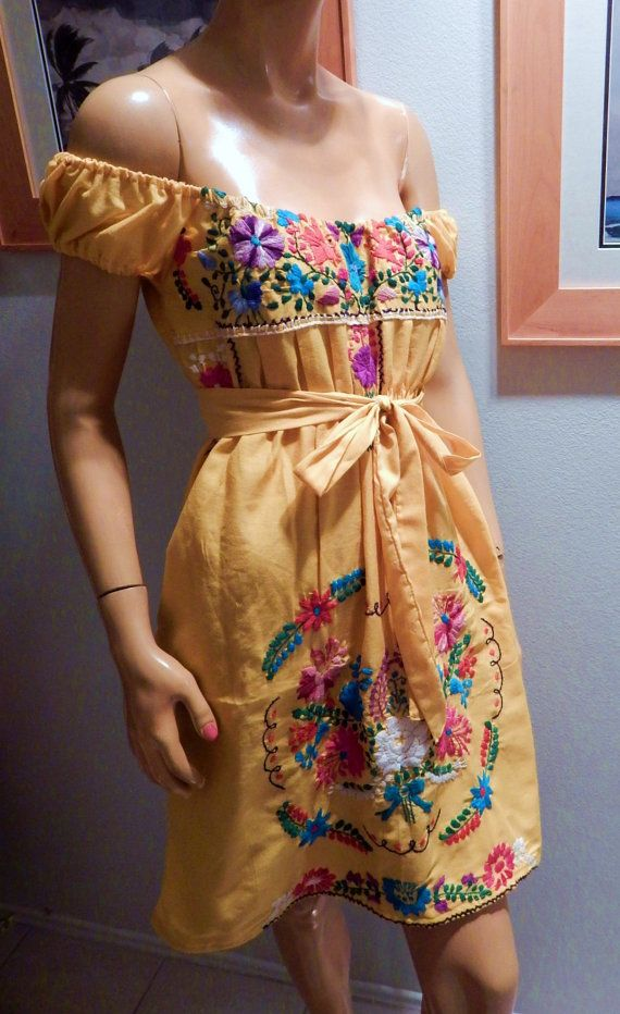 I have upcycled a beautiful mexican dress to a new, more flattering style bust is appx 40 max and will fit a 34-40 easily I have shortened it and it has elastic under the bust with a matching belt all embroidery is intact dress has no stains or holes I can do almost any color you request.