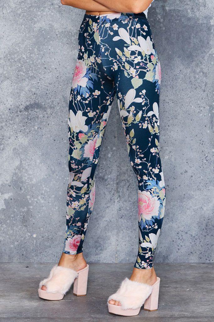 Koson Flowers Leggings ($75AUD) by BlackMilk Clothing