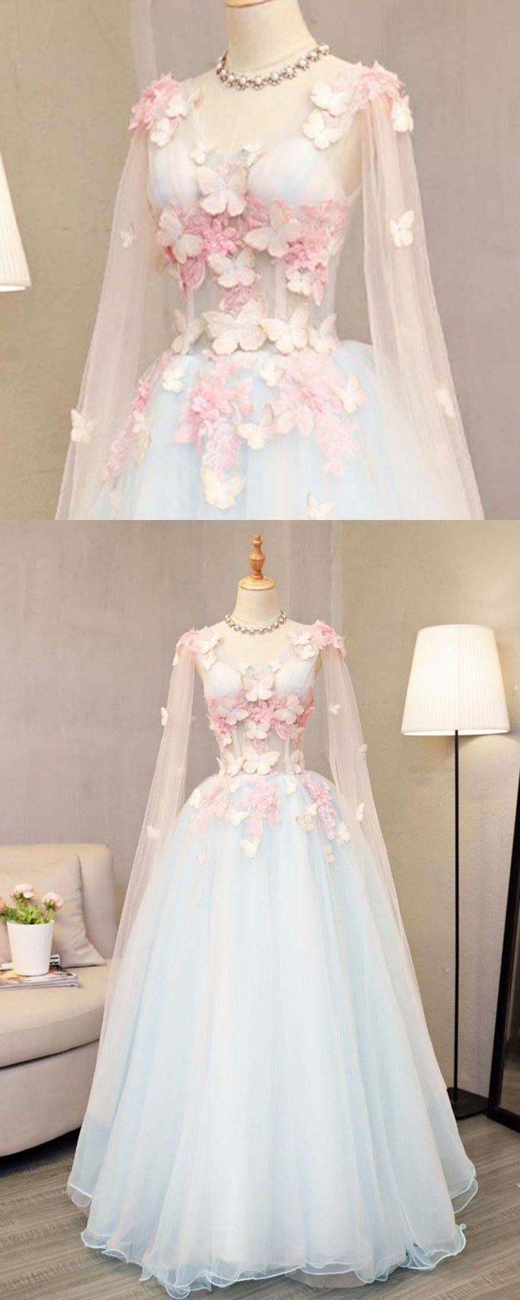 Himmelblau Tüll lange A-Linie sweet 16 Abendkleid, lange V-Ausschnitt Schmetterling Partykleid