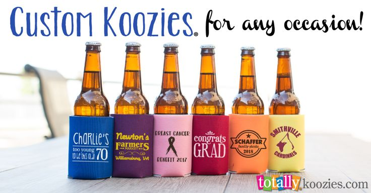 Personalize Koozies now from 30¢ each! Enjoy free shipping every day. Customize Koozies now with your logo, event information or custom design!