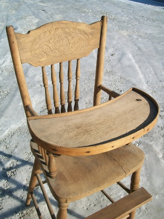 Antique Childs Wooden High Chair With Tray By