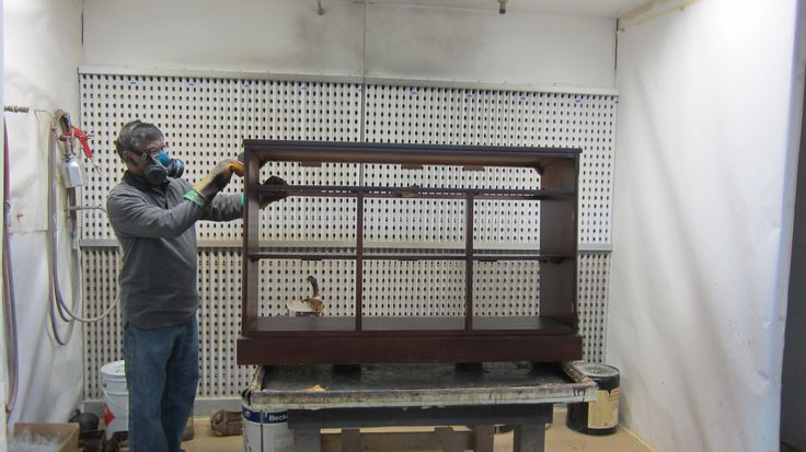 The Fruno's project: #stripping the #old #finish off of the #hutch & #buffet by AM Furniture Finishing