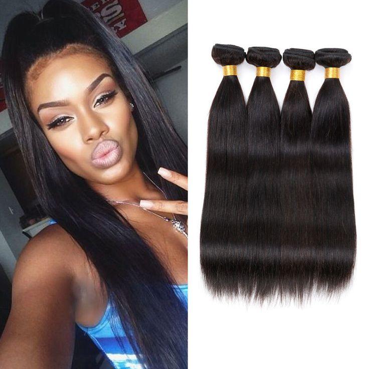 Brazilian Virgin Remy Human Hair Extensions Weave Straight 4 Bundle Weaving 200G #FREEWINDS #StraightBundle