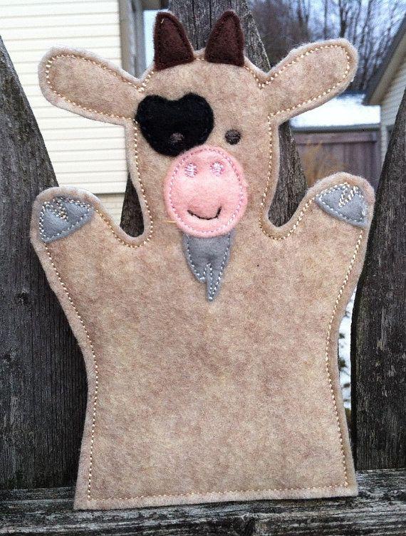 Goat  Farm Animal Felt Hand Puppet  KiD SiZe by ThatsSewPersonal, $7.50