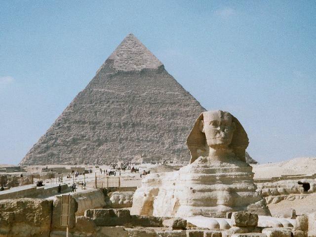 """Esfinge"" e ""Pirâmide de Quéfren"". # Cairo, Egito."