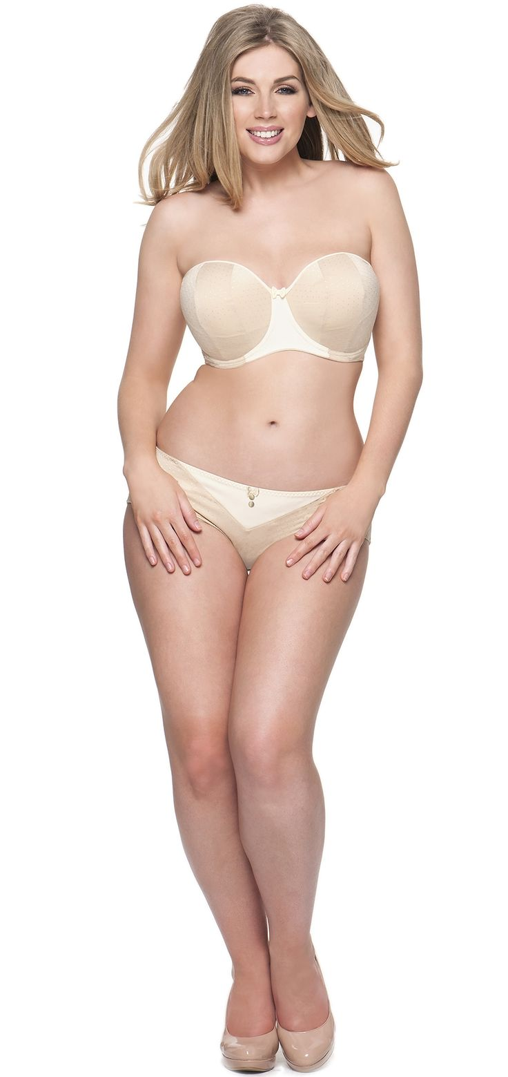 Curvy Kate Luxe strapless multiway bra in Biscotti beige (also available in black). Available in March 2014. Sizes 28-30 D-J, 32 D-HH, 34 D-H, 36 D-GG, 38 D-G. #ddplus #ggplus #28band