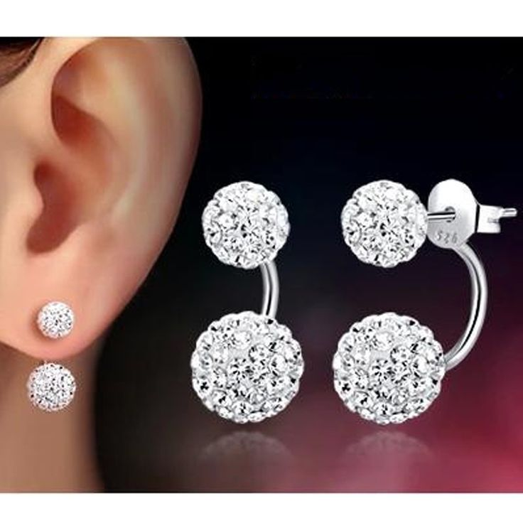 Shiny Shambhala Double Studded Pearl Earrings