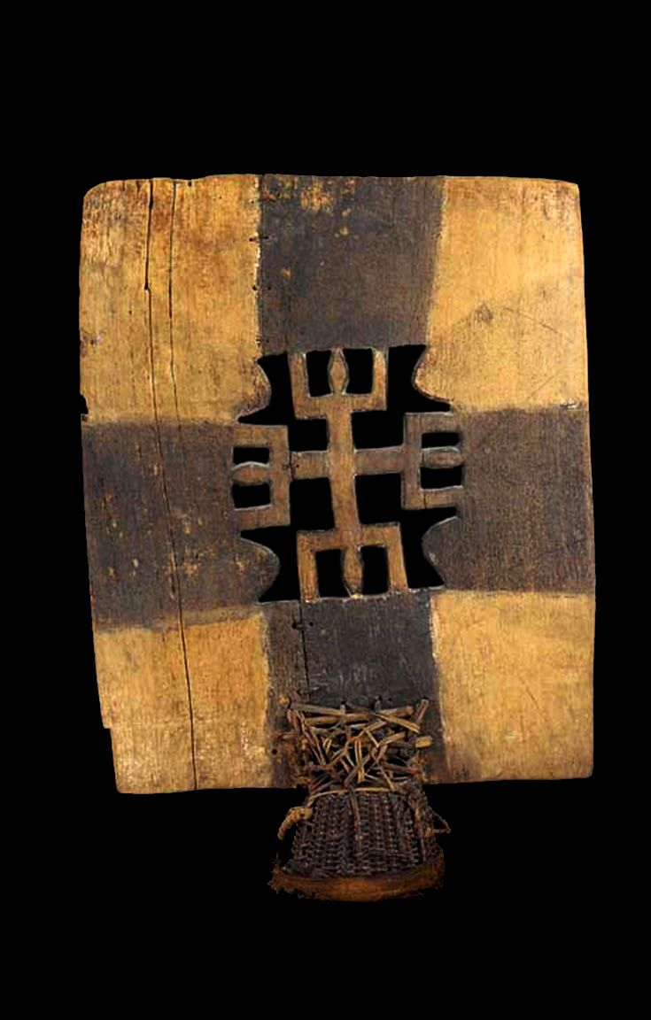 Africa | 'Kwonro' dance crest from the Senufo people of the Ivory Coast.  Wood, basketry.  H:  84 cm
