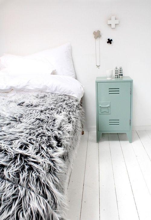 Gray Fur Bedspread / Remodelista