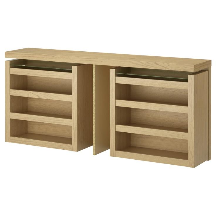 MALM 3-piece headboard/bed shelf set - white stained oak