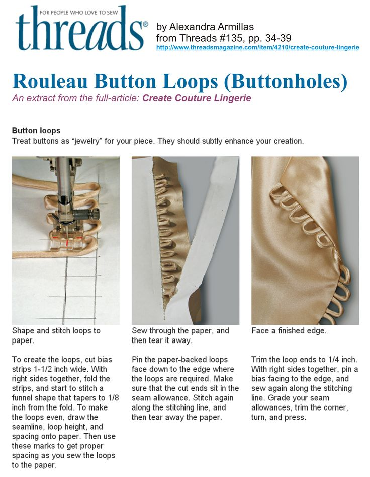 Rouleau Button Loops (Buttonholes) - an extract from the Threads Magazine article 'Create Couture Lingerie' by Alexandra Armillas from Threads Issue #135, pp. 34-39 http://www.threadsmagazine.com/item/4210/create-couture-lingerie