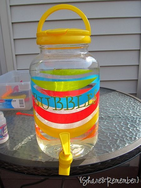"""Use Drink Pitcher with spout as a """"Bubble refill Station"""" for kiddos!The World's Best Bubbles     1 1/2 quarts of water   1/2 cup light corn syrup   1 cup liquid dish soap   Mix water and corn syrup until completely blended. Heat in microwave 3-4 minutes. Slowly stir in soap. Will last several weeks in an airtight container."""