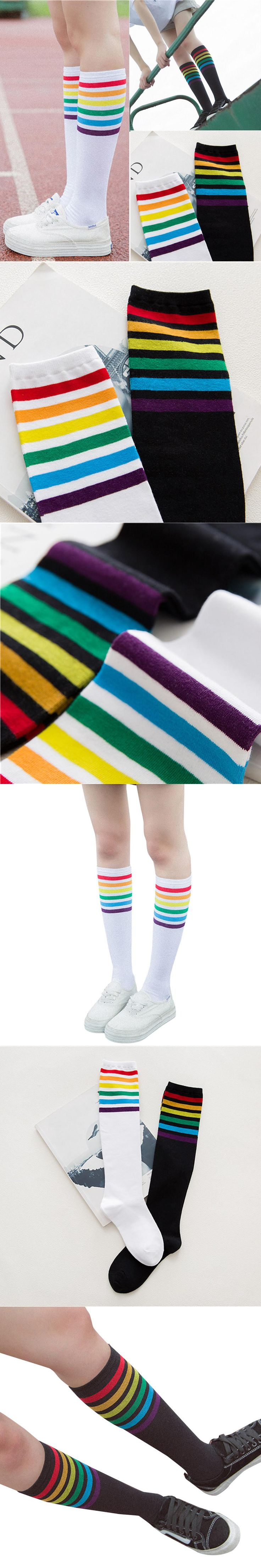 Feitong 1Pair Thigh High Socks Over Knee Rainbow Stripe Girls Wild Socks Black White Circulation Swelling Relief Foot Sleeve Hot