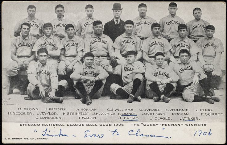1906 chicago cubs. won the nl pennant. lost the only crosstown world series to the white sox 'the hitless wonders'