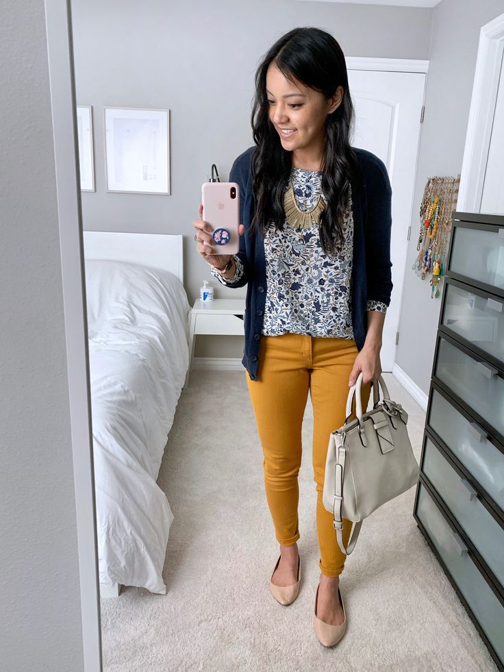 mustard yellow jeans + floral print top + navy blue cardigan