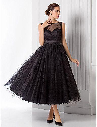 TS Couture® Formal Evening Dress - Black Plus Sizes / Petite A-line / Princess Bateau Tea-length Tulle 2016 - $89.99