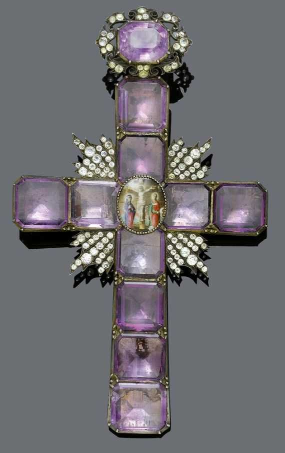 243 best cross images on pinterest cross jewelry cross pendant amethyst and silver cross pendant probably russian 19th century large cross pendant set with 10 octagonal amethysts in the centre an oval miniature aloadofball Image collections