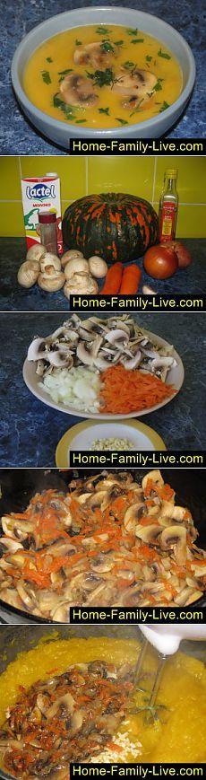 Кулинарные рецепты Суп пюре - пошаговый фоторецепт - суп пюре из тыквы с грибами
