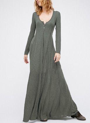 Baumwolle Solide Lange Ärmel Maxi Elegant Kleider (1037885) @ floryday.com