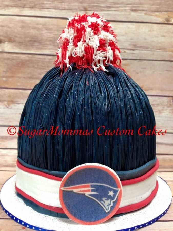New England Patriots classic pompom smash cake for Devin's 1st Birthday