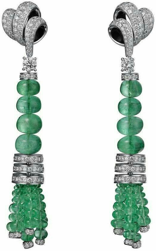 Emeralds and Diamonds  Earings