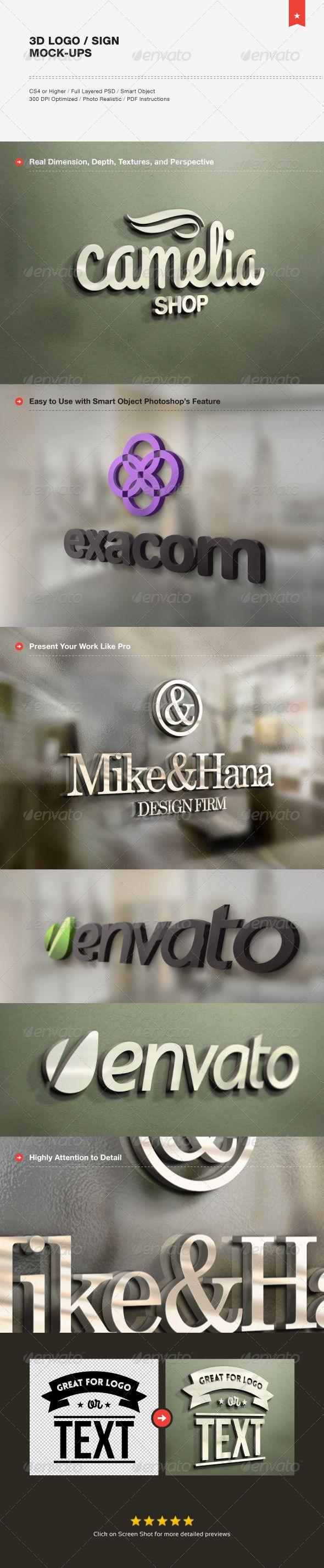3D Logo / Sign Mock-ups - Product Mock-Ups Graphics