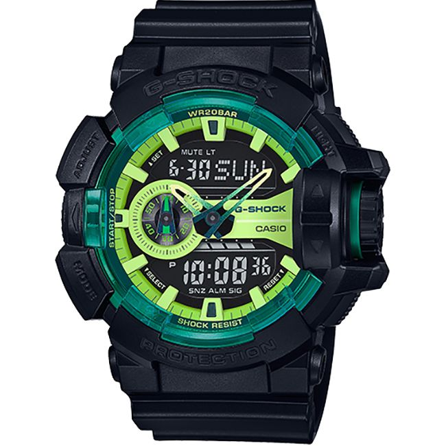 G-Shock Black and Lime Green Dial Rubber Strap Sport XTRA Large Watch #GA400LY-1A for sale at #OCWatchCompany the authorized dealer in #WalnutCreek.