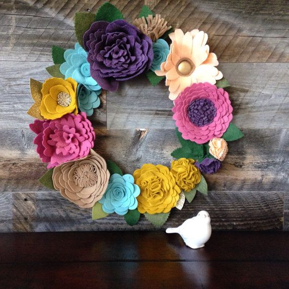 Felt Flowers Wall Decor : Best ideas about felt flower wreaths on
