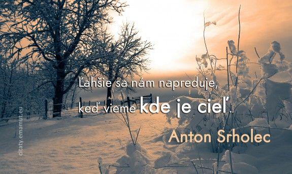 Ľahšie sa nám napreduje, keď vieme kde je cieľ. - Srholec, Anton - citát s obrázkom   citaty.emamut.eu