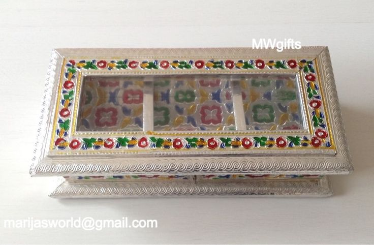 Decorative Indian/ Moroccan Medium Storage/Jewellery Box with Three Compartments