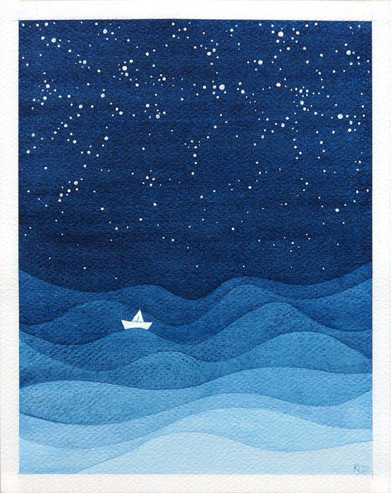 Giclee print. Décor de mur nautiques. Navire solitaire en mer dans la nuit étoilée - impression daquarelle. Illustration des enfants capricieux du voilier blanc. Bleue marine illustration marine de mer agitée sintègrera parfaitement dans la pépinière, en particulier dans la chambre du garçon. Décor de mur nautiques. Tenture murale. Décor à la maison. Les enfants art. titre: « Où est maintenant... mon bateau en papier? » couleurs : bleu marine Illustration est signée, titrée et datée au ve...