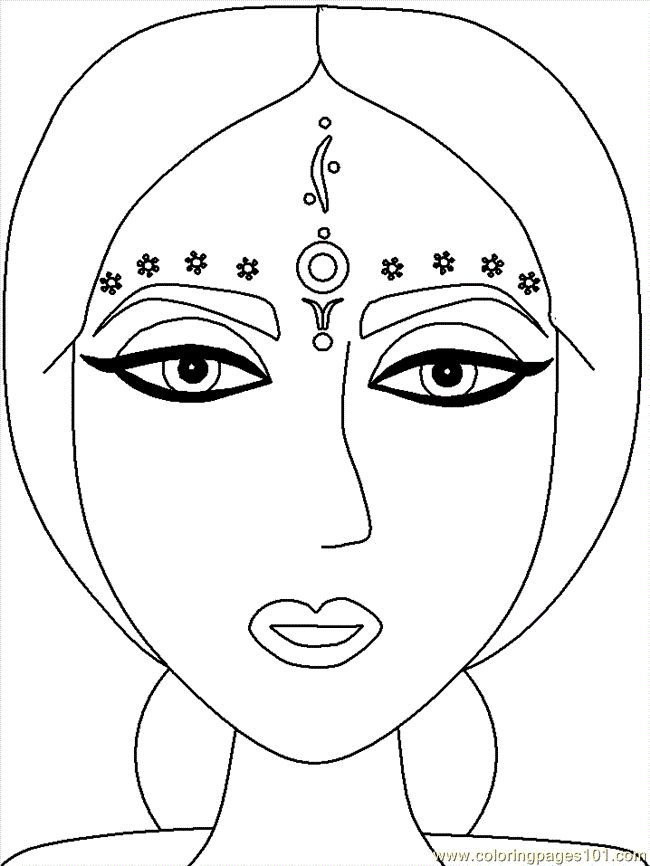 Indian Lady S Face Coloring Pages Coloring Pages For