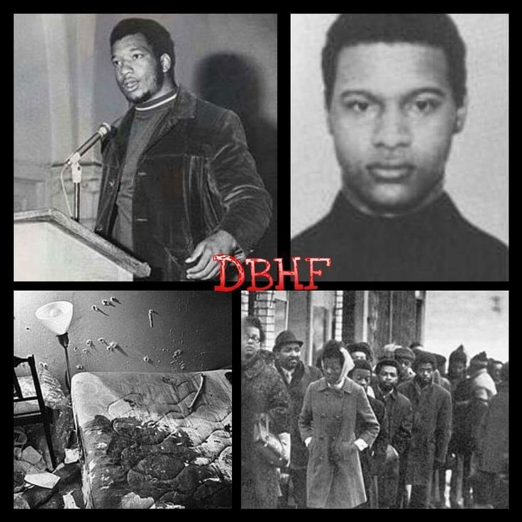 """Black Panther Party members Fred Hampton (21 years old) and Mark Clark (22 years old) are shot and murdered in their sleep during a raid by 14 Chicago police officers. """"We expected about 20 Panthers to …"""