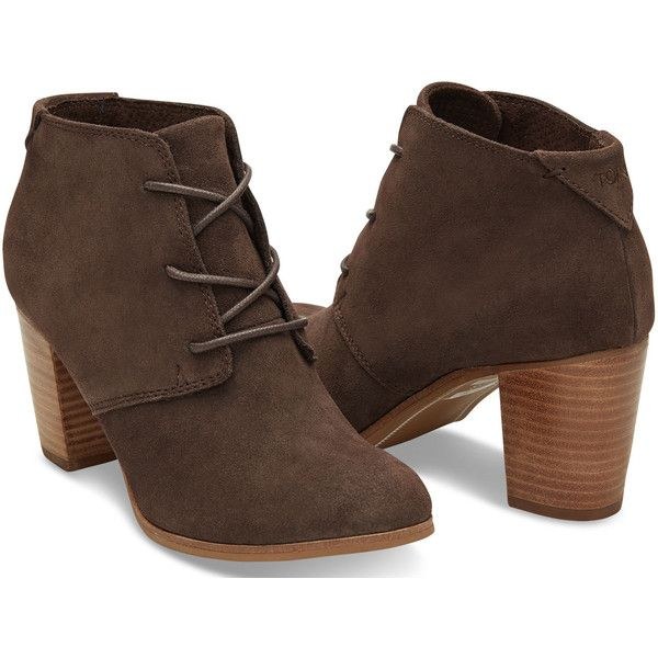Chocolate Brown Suede Women's Lunata Lace-Up Booties ($119) ❤ liked on Polyvore featuring shoes, boots, ankle booties, lace up bootie, lace up boots, suede booties, suede ankle boots and bootie boots