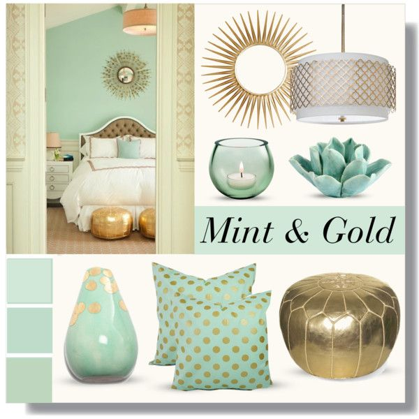 Mint & Gold by lgb321 on Polyvore featuring polyvore interior interiors interior design home home decor interior decorating Regina-Andrew Design Dot & Bo Mirror Image Home bedroom