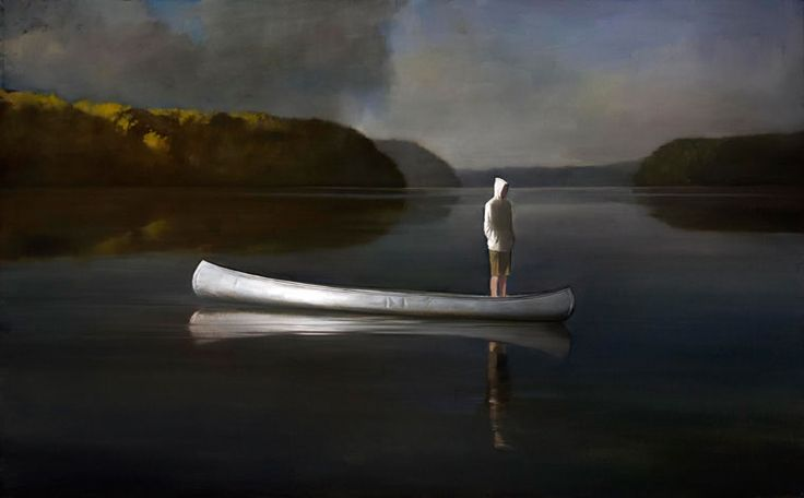 Canoe - Randall Exon-  this is me, growing up on the lake....i used to sit on the bow, with my feet dangling in the water while paddling around....
