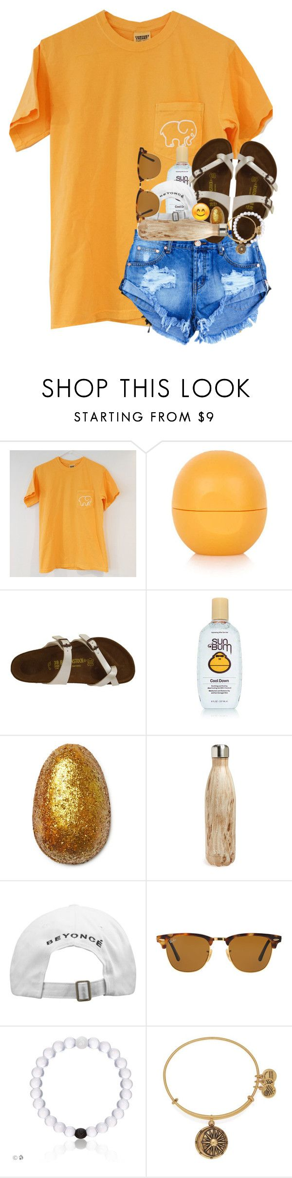 """""""Account refresh!"""" by evedriggers ❤ liked on Polyvore featuring Topshop, Birkenstock, Sun Bum, S'well, Ray-Ban and Alex and Ani"""