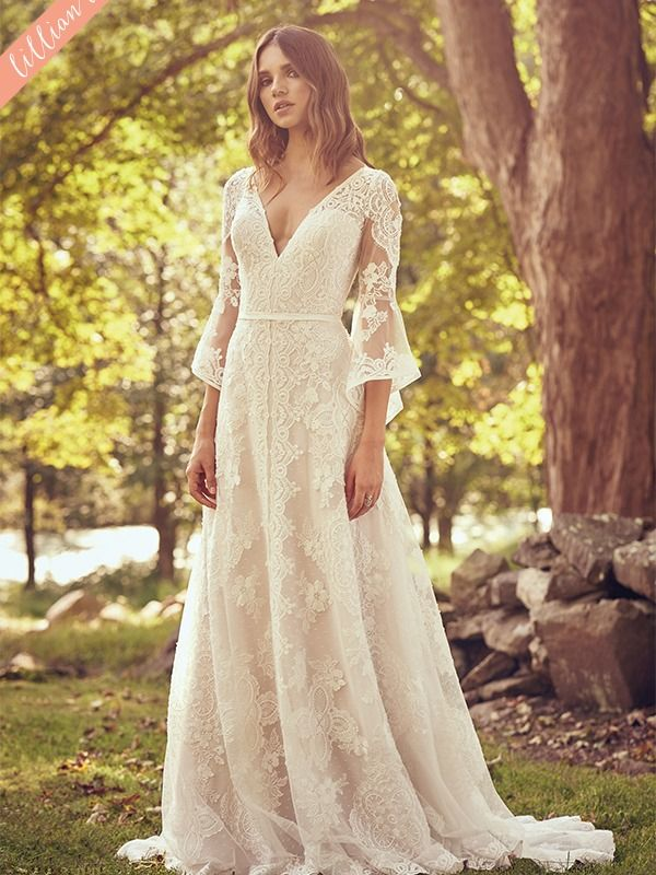 Style 66064 Bell Sleeve Lace Dress With Criss Cross Back Detail Wedding Dresses Whimsical Lillian West Wedding Dress Lace Dress With Sleeves