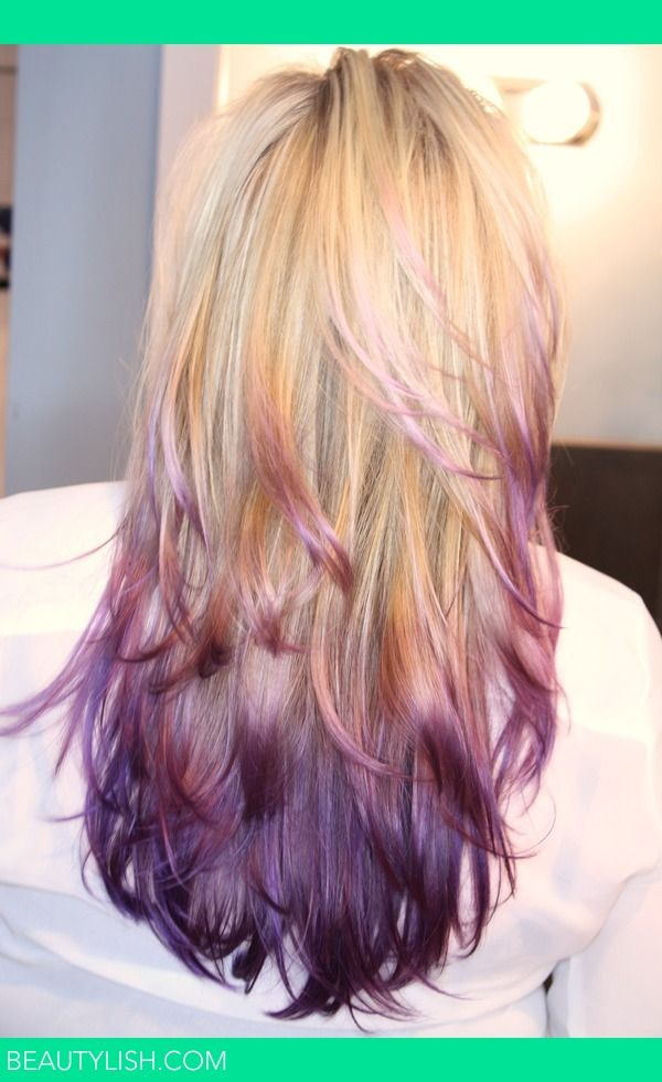 Step 1: Gorgeous, natural blonde hair with highlights that transitions into a lavender and then deep purple through the tips. Goldwell Elumen colour was used