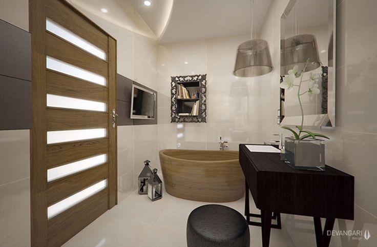 Úzka kúpeľňa na krémovom základe prakticky delená na dve zóny… Viac náhľadov tejto vizualizácie na: Kupelnovy-manual.sk