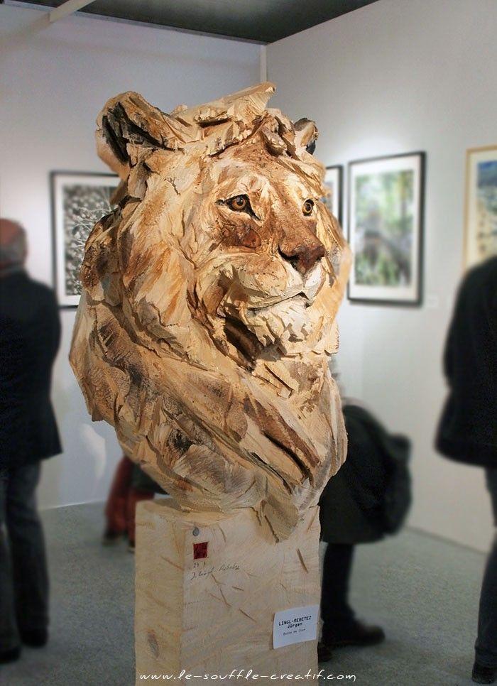 """Jürgen Lingl-Rebetez ~ """"Buste de Lion"""" ~ Wood Sculpture"""