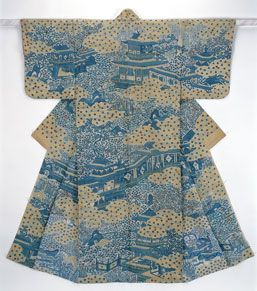 Katabira with design of a garden and storied pavillions in resist dyeing on white bast-fiber cloth. Mid Edo Period.