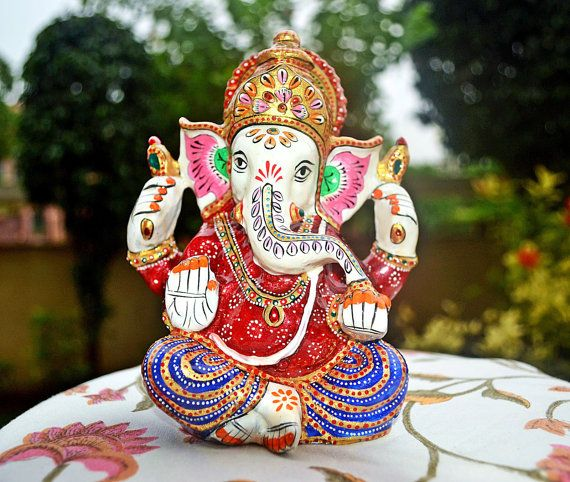 Decorative Lord Ganesh Statue, Vintage Hand Painted Metal Hindu Ganesha Idol