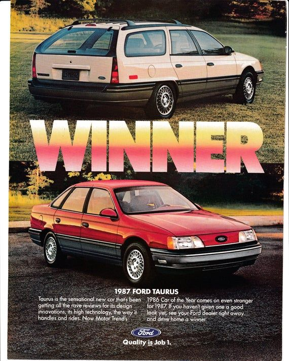 1987 Ford Taurus Sedan Wagon 1986 Car Of The Year Vehicle Etsy Sedan Ford Old American Cars