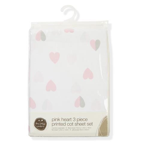 Cot Sheet Set - Pink Heart