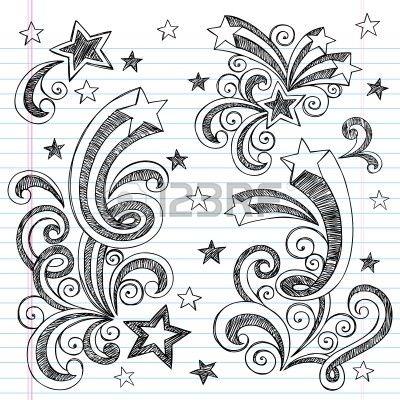 Иллюстрация - Рисованной Назад в школу Starbursts, сучки, сердца и звезды Sketchy ноутбуков Doodles иллюстрации...