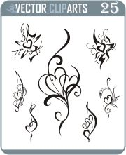 Simple Heart Tattoo Designs | 25 simple black and white heart tattoo, heart vignettes and heart ...