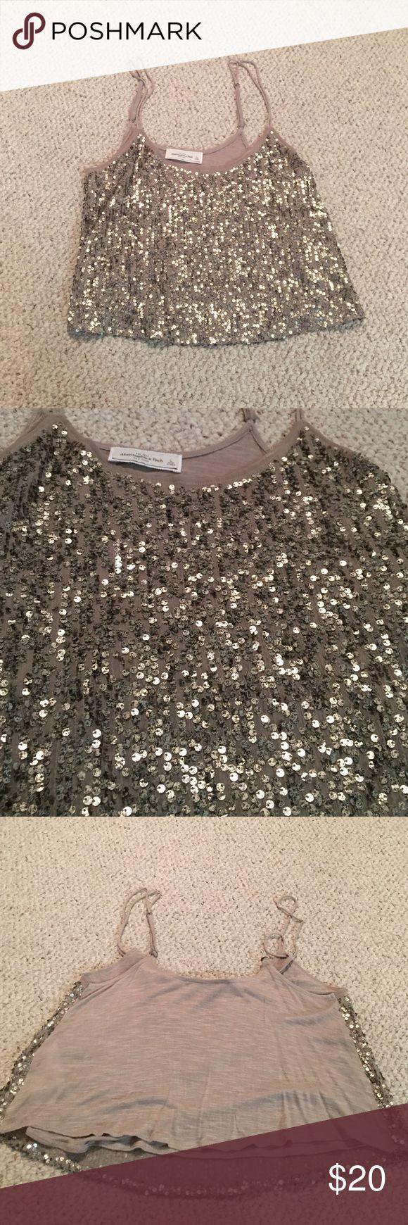 Sparkly crop top Gold/bronze sparkles, never been worn, adjustable straps, crop top Abercrombie & Fitch Tops Crop Tops
